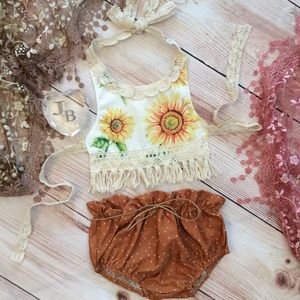 Boutique Baby Boho Sunflower Halter & Bloomer Set